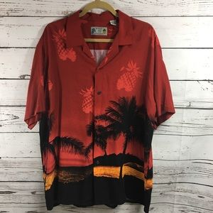 Pineapple Vintage Aloha Connection Red Shirt Sz L